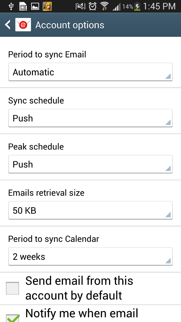 Account setup on your Android Device